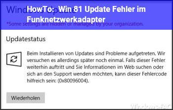 HowTo Win 8.1 Update/ Fehler im Funknetzwerkadapter