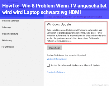 HowTo Win 8 Problem: Wenn TV angeschaltet wird, wird Laptop schwarz wg. HDMI