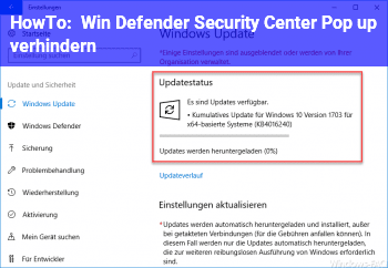 HowTo Win Defender Security Center Pop up verhindern