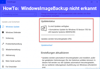 HowTo WindowsImageBackup nicht erkannt