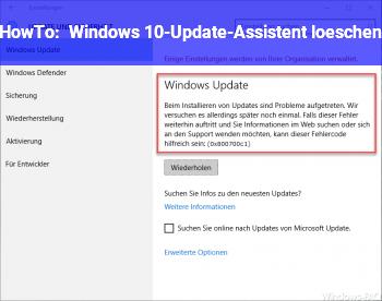 HowTo Windows 10-Update-Assistent löschen?