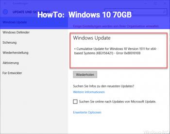 HowTo Windows 10 70GB?