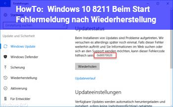 HowTo Windows 10 – Beim Start Fehlermeldung nach Wiederherstellung