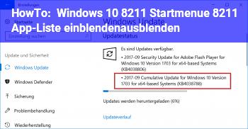 HowTo Windows 10 – Startmenü – App-Liste einblenden/ausblenden