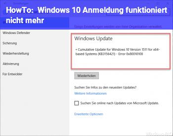 HowTo Windows 10 Anmeldung funktioniert nicht mehr