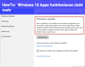 HowTo Windows 10 Apps funktionieren nicht mehr