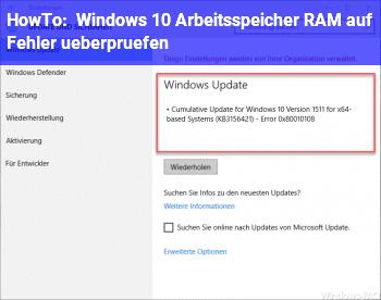 HowTo Windows 10: Arbeitsspeicher (RAM) auf Fehler überprüfen