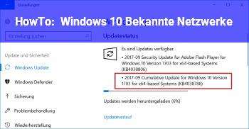 HowTo Windows 10 Bekannte Netzwerke