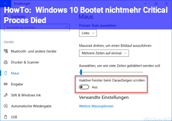 HowTo Windows 10 Bootet nichtmehr Critical Proces Died
