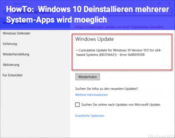 HowTo Windows 10: Deinstallieren mehrerer System-Apps wird möglich