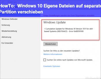 HowTo Windows 10: Eigene Dateien auf separate Partition verschieben