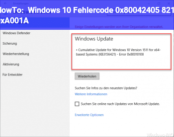 HowTo Windows 10 Fehlercode 0x80042405 – 0xA001A