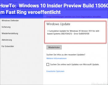 HowTo Windows 10 Insider Preview Build 15060 im Fast Ring veröffentlicht