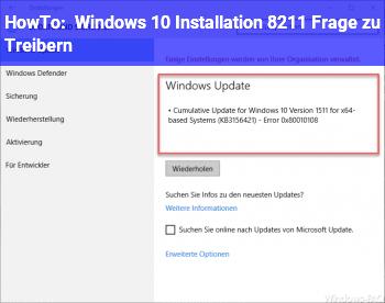 HowTo Windows 10 Installation – Frage zu Treibern