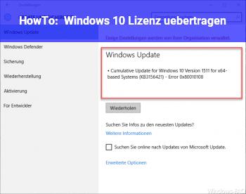 HowTo Windows 10 Lizenz übertragen