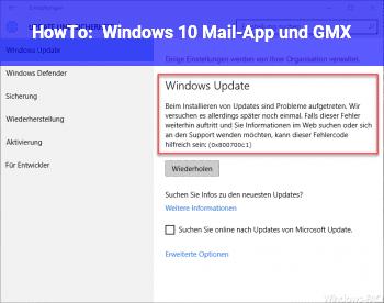 HowTo Windows 10 Mail-App und GMX