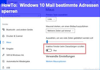 HowTo Windows 10 Mail bestimmte Adressen sperren