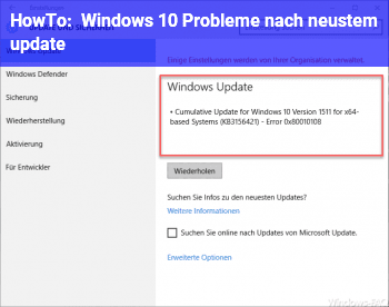 HowTo Windows 10 Probleme nach neustem update