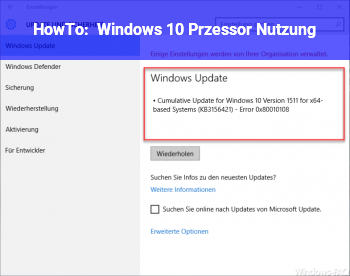 HowTo Windows 10 Przessor Nutzung