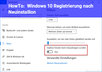 HowTo Windows 10 Registrierung nach Neuinstallion