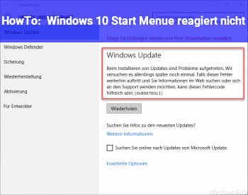 HowTo Windows 10 Start Menü reagiert nicht