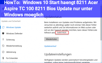 HowTo Windows 10 Start hängt – Acer Aspire TC 100 – Bios Update nur unter Windows möglich