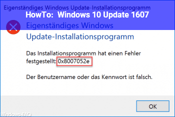 HowTo Windows 10 Update 1607