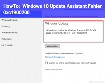 HowTo Windows 10 Update Assistant Fehler 0xc1900208
