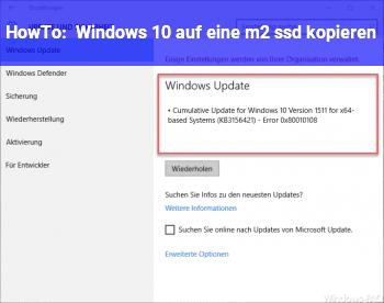 HowTo Windows 10 auf eine m2 ssd kopieren
