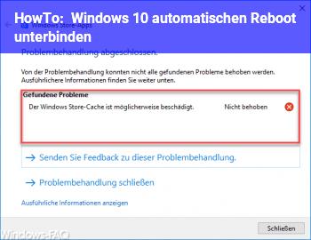 HowTo Windows 10 automatischen Reboot unterbinden