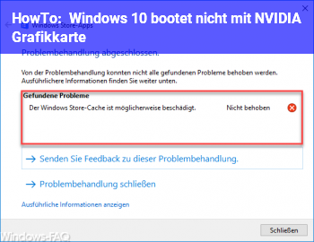 HowTo Windows 10 bootet nicht mit NVIDIA Grafikkarte