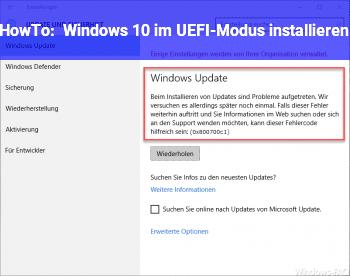 HowTo Windows 10 im UEFI-Modus installieren