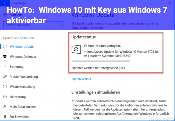 HowTo Windows 10 mit Key aus Windows 7 aktivierbar?