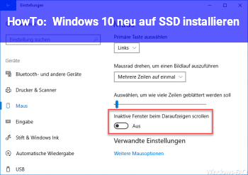 HowTo Windows 10 neu auf SSD installieren