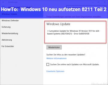 HowTo Windows 10 neu aufsetzen – Teil 2