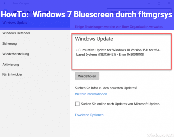 HowTo Windows 7 Bluescreen durch fltmgr.sys