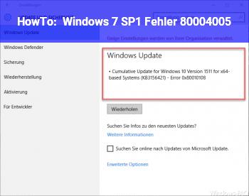 HowTo Windows 7 SP1: Fehler 80004005
