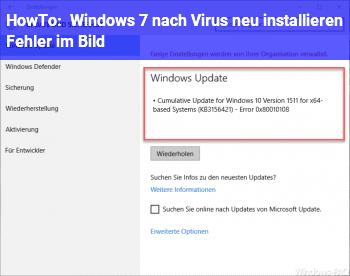 HowTo Windows 7 nach Virus neu installieren + Fehler im Bild