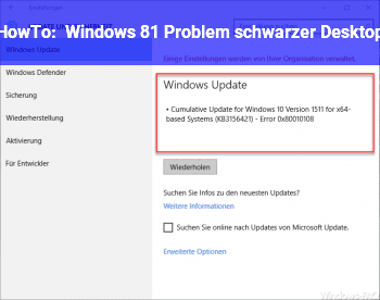 HowTo Windows 8.1 Problem schwarzer Desktop