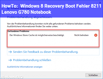 HowTo Windows 8 Recovery Boot Fehler – Lenovo G780 Notebook