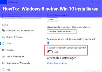 HowTo Windows 8 neben Win 10 installieren