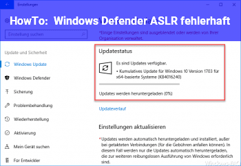 HowTo Windows Defender ASLR fehlerhaft