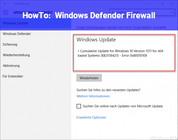 HowTo Windows Defender Firewall