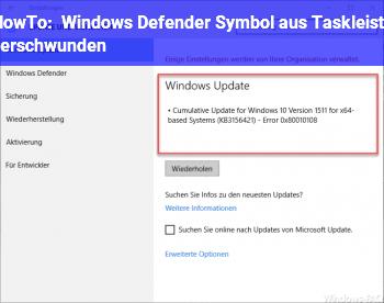 HowTo Windows Defender Symbol aus Taskleiste verschwunden