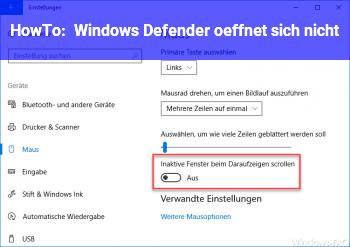 HowTo Windows Defender öffnet sich nicht