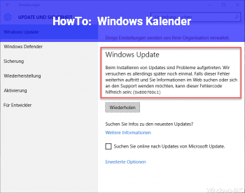 HowTo Windows Kalender