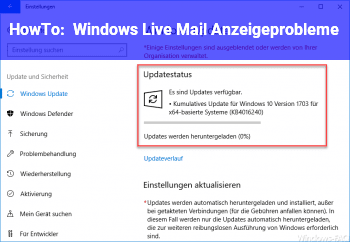 HowTo Windows Live Mail Anzeigeprobleme