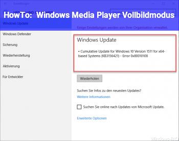 HowTo Windows Media Player Vollbildmodus