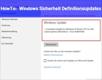 HowTo Windows Sicherheit Definitionsupdates