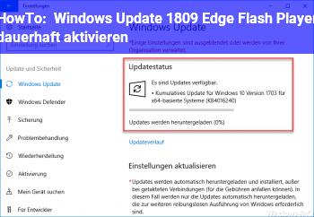 HowTo Windows Update 1809 Edge & Flash Player dauerhaft aktivieren